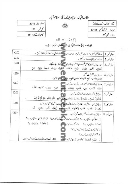 AIOU Past Paper 240 Spring 2018