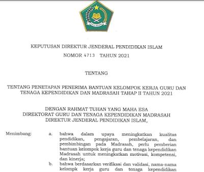 Daftar Penerima Bantuan Kelompok MGMP/MGBK/KKG Guru Madrasah Tahun 2021