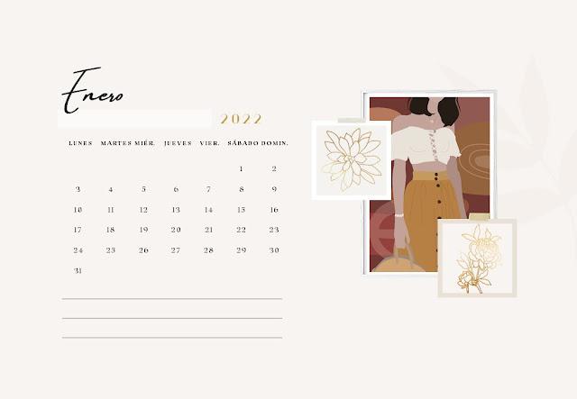 Calendario 2022 diseño mujer pdf gratis