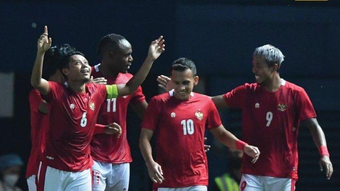 Timnas Indonesia usai mencetak gol ke gawang Taiwan