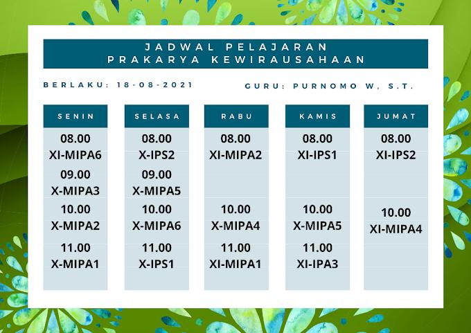 Jadwal Pelajaran Mata Pelajaran Prakarya Kewirausahaan Semester Ganjil Tahun Pelajaran 2021/2022