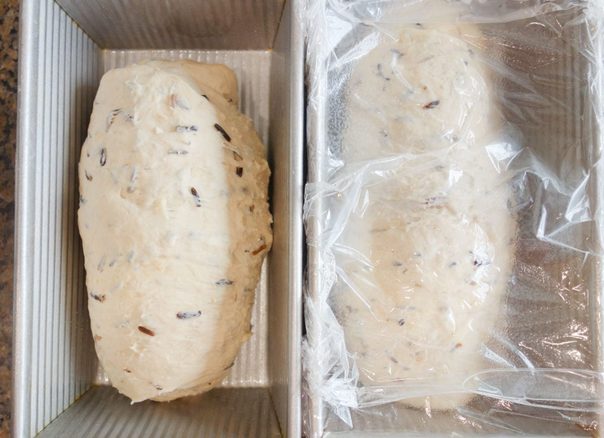 Wild Rice and Onion Bread shaped dough.