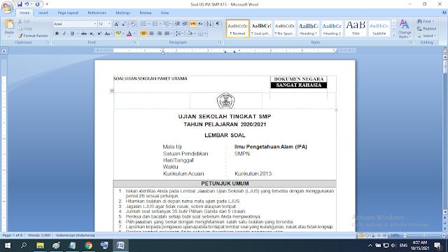Soal Ujian Sekolah SMP IPA Lengkap Kunci Jawaban Kurikulum 2013 Revisi