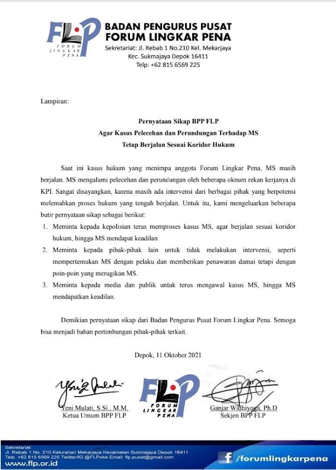 Pernyataan Sikap BPP FLP Agar Kasus Pelecehan dan Perundungan Terhadap MS