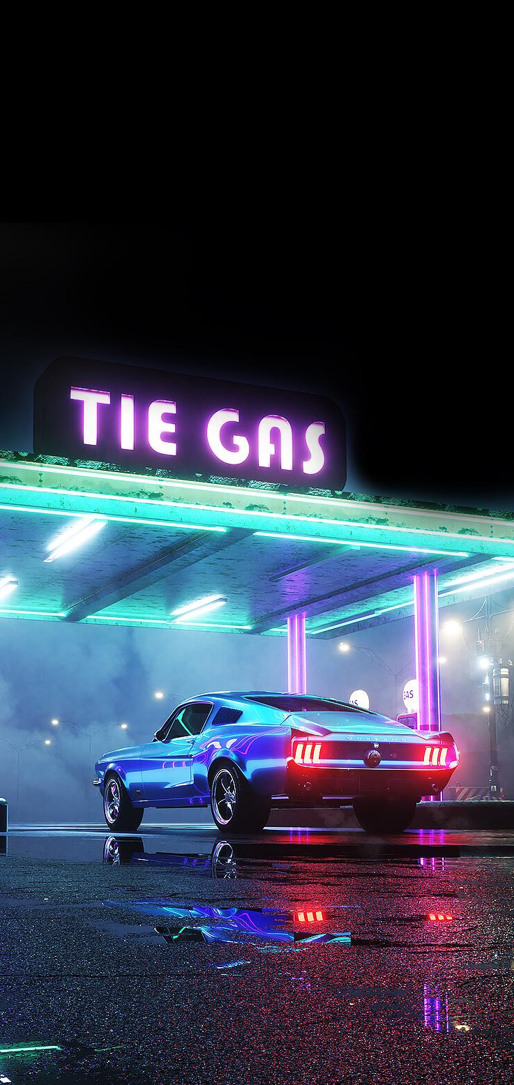 neon car night outrun gas cyberpunk