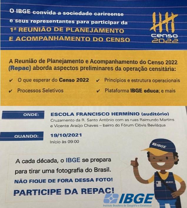 IBGE realizará em Cariré, a 1ª Reunião de Planejamento e Acompanhamento do Censo 2022, no dia 19/10, às 9h