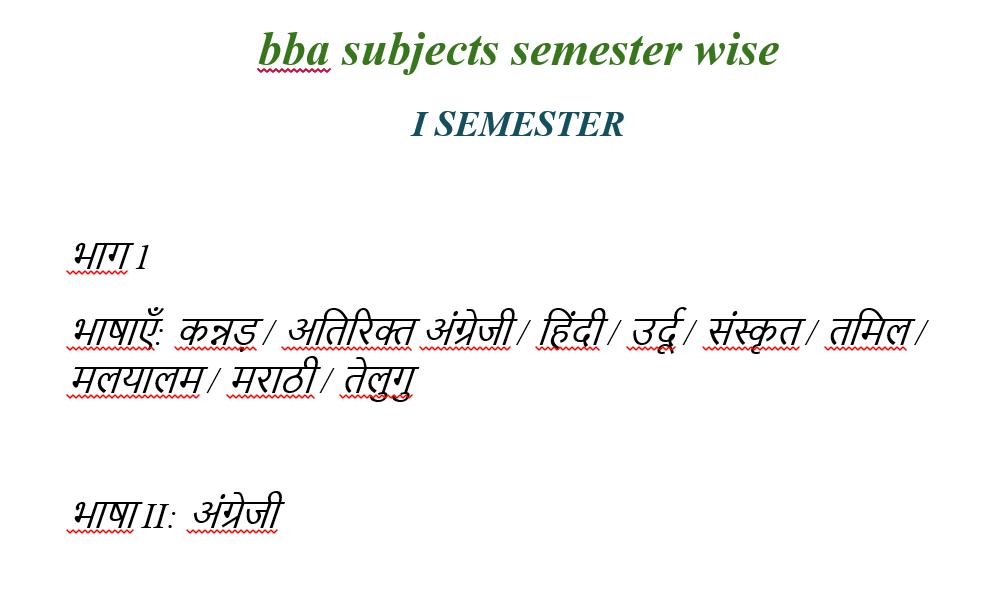 Bangalore university BBA syllabus