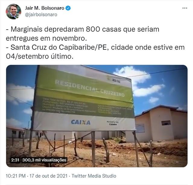 Polícia Federal diz não ter identificado participação de movimentos sociais em invasão de residencial citada por Bolsonaro