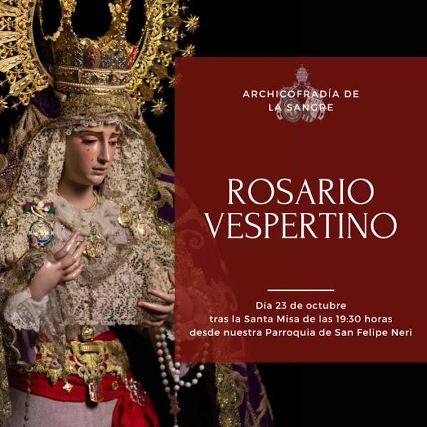 Horario e Itinerario Rosario Vespertino María Santísima de Consolación y Lágrimas. Málaga 23 de Octubre del 2021