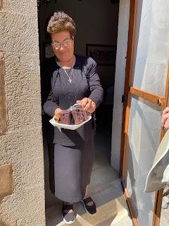 Monastery Agios Georgios, Karydi - offered cake.