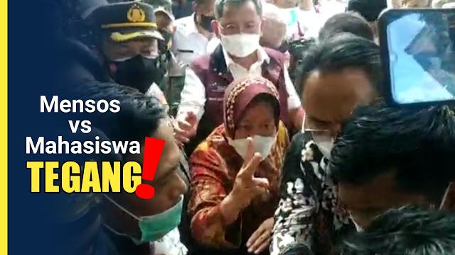 Mensos Risma adu mulu dengan mahasiswa di Lombok Timur