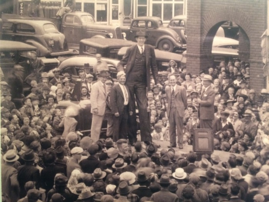 Robert Wadlow on tour with the International Shoe Company.