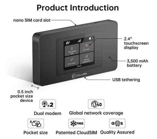GlocalMe DuoTurbo WiFi 4G LTE Mobile Hotspot