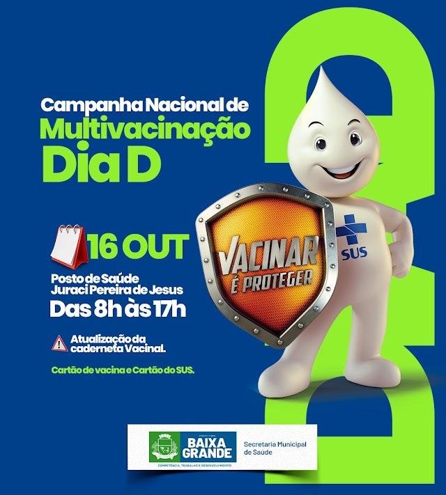 Campanha de multivacinação de crianças e adolescentes tem Dia D neste sábado em Baixa Grande