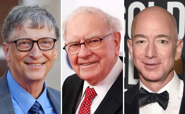 From left, Microsoft co-founder Bill Gates; Billionaire investor Warren Buffet, Amazon founder, Jeff Bezos.