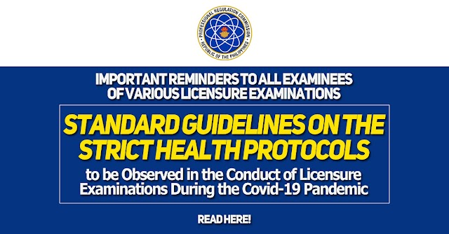 IMPORTANT REMINDERS TO ALL EXAMINEES OF VARIOUS LICENSURE EXAMINATIONS