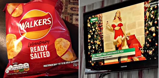 Crisps and Christmas music on the TV
