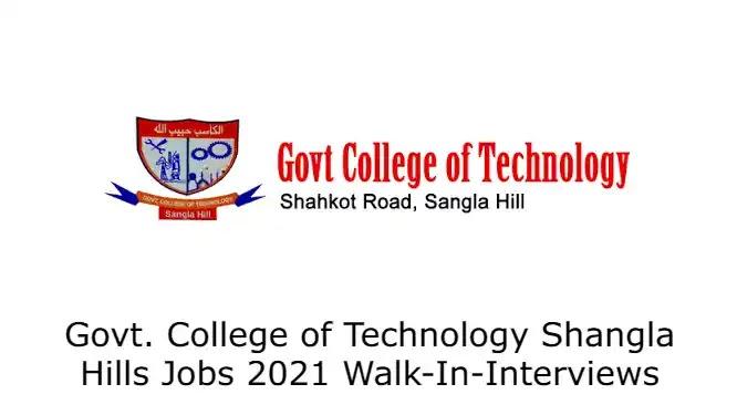 Govt. College of Technology Shangla Hills Jobs 2021