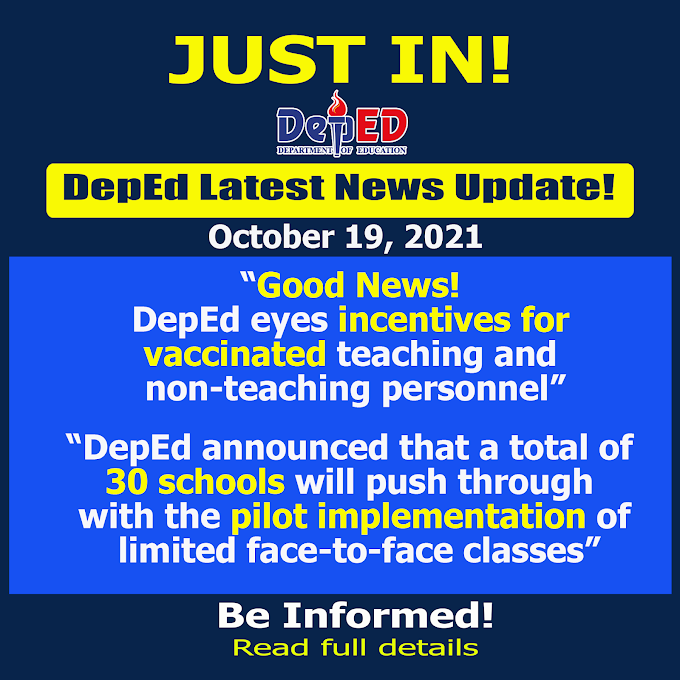 Good News! DepEd eyes incentives for vaccinated teaching and non-teaching personnel