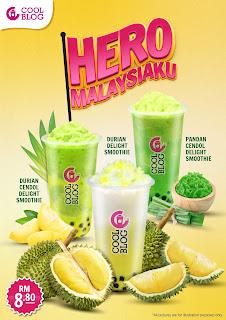 Coolbog Memperkenal Minuman Smoothie Perisa Tempatan, Durian, Pandan dan Cendol Sempena Kempen MalaysiaKu
