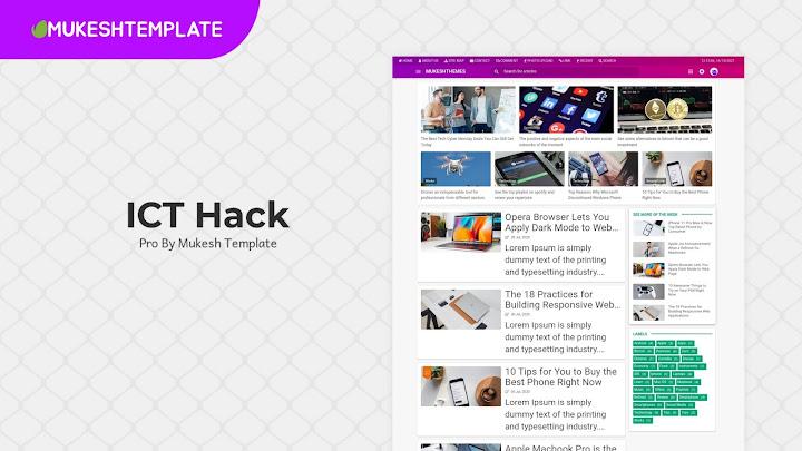 ICT Hack - Premium Responsive Blogger Template