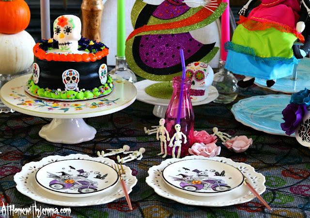 Halloween-sugar-skull-table-setting-party-ideas