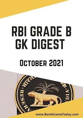 RBI Grade B GK Digest: October 2021
