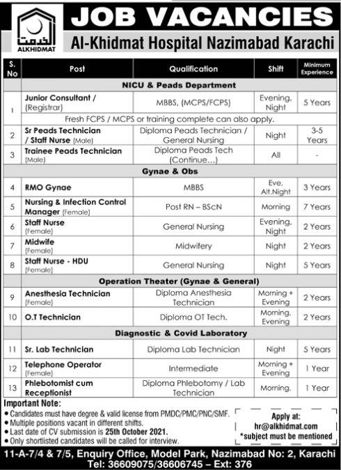 JOBS | Al-Khidmat Hospital Nazimabad Karachi