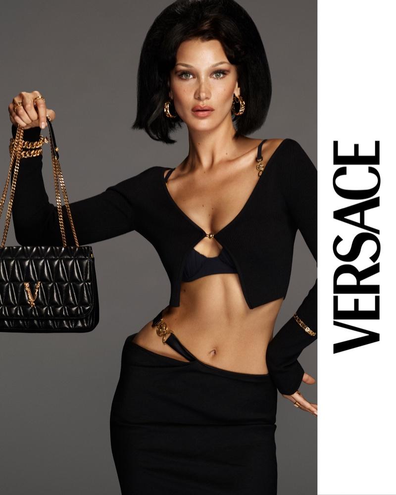 Bella Hadid fronts Versace Virtus handbag 2021 campaign
