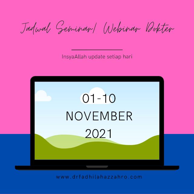 Jadwal Webinar/Seminar Dokter 1-10 November 2021