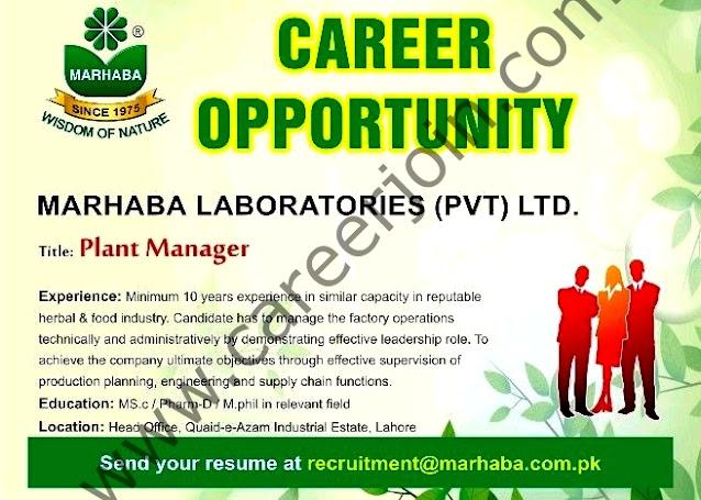 Marhaba Laboratories Pvt Ltd Latest Jobs For Plant Manager