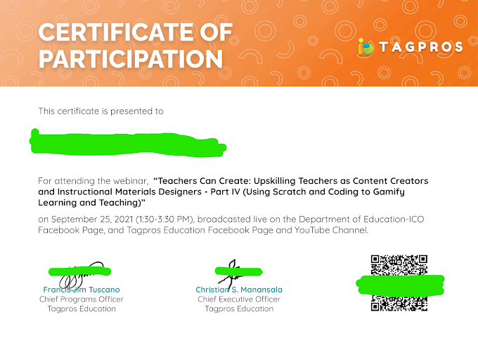 September 25 Certificate of Participation | Tagpros Education is now ready for Download!