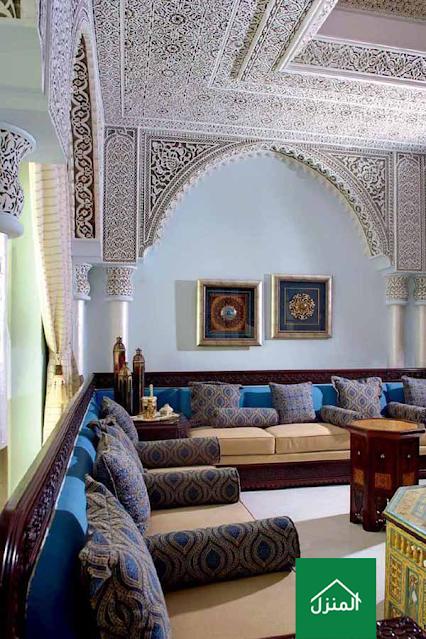 ديكور جبس سقف بزخرفة مغربية لمجلس رجال مغربي