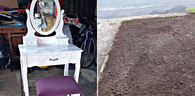 My finished dressing table and new soil on the garden