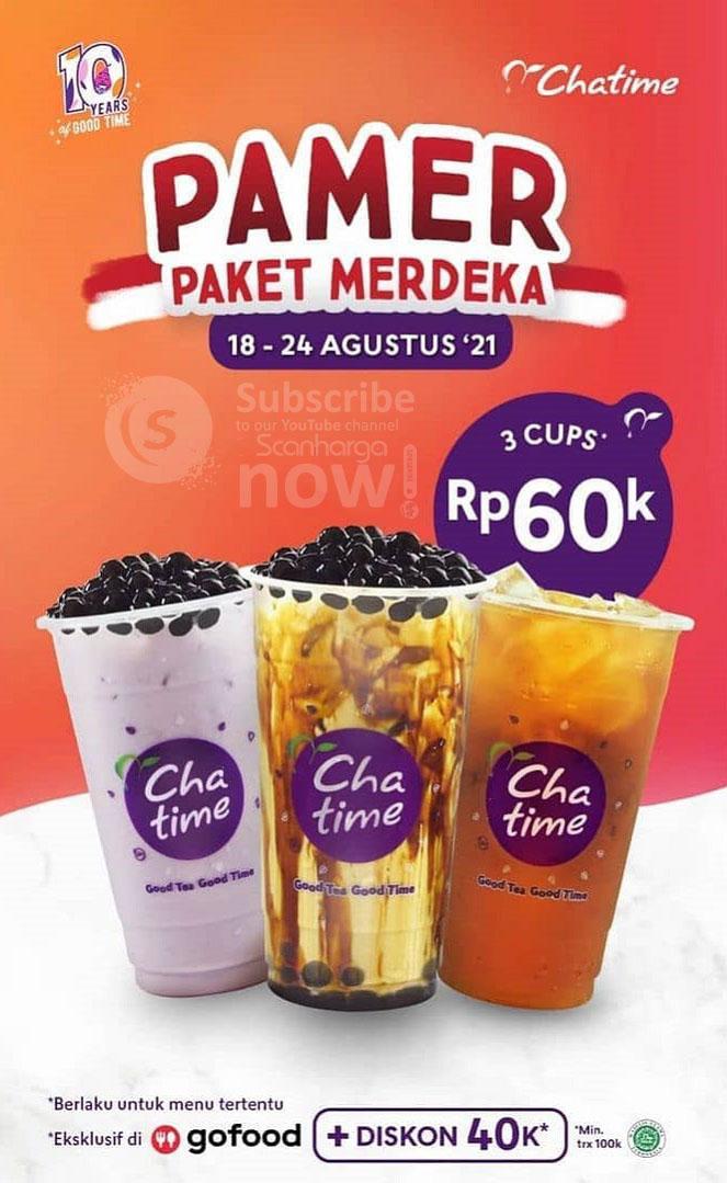 Promo Chatime PAMER Paket Merdeka - Beli 3 Cup Chatime cuma 65Ribu