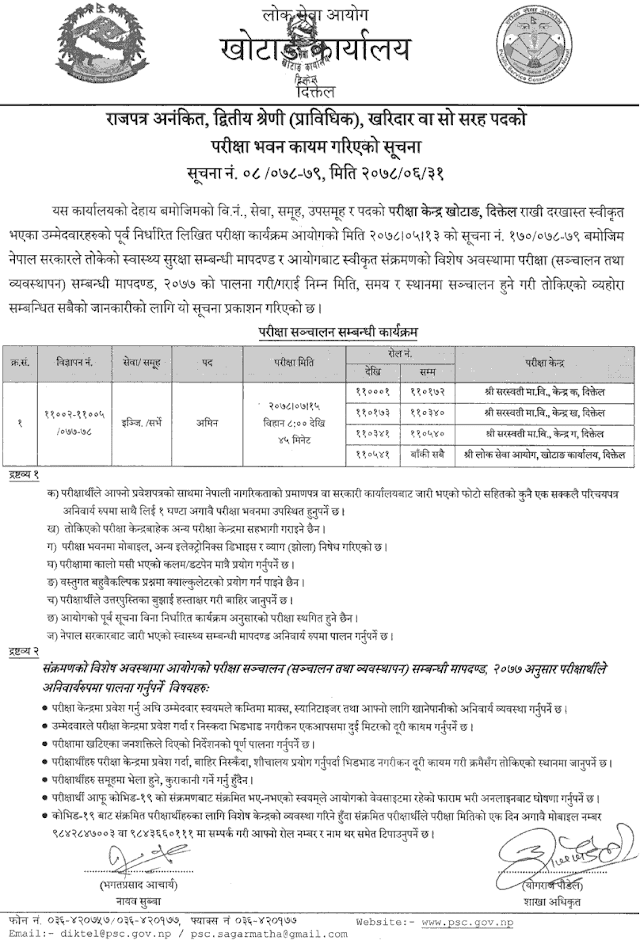 Lok Sewa Aayog Khotang Written Exam Center of AMIN