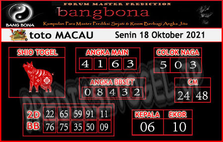 Prediksi Bangbona Toto Macau Senin 18 Oktober 2021