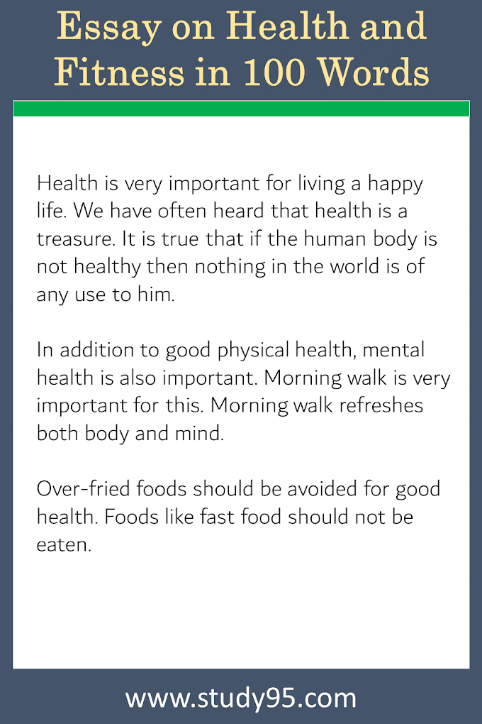 Essay on Health and Fitness in 100 Words - Study95