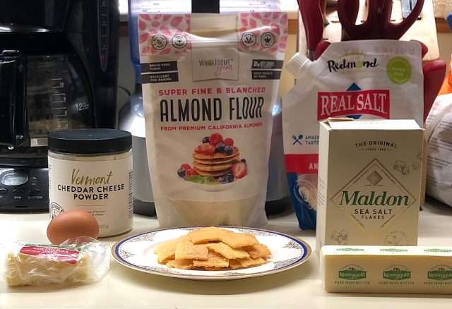 Photo of keto cheese crackers with recipe ingredients