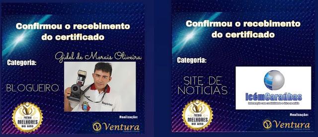 """Icém Caraúbas recebe mais dois prêmios como o """"Melhor do Ano de 2021"""" na categoria Site de Notícia e blogueiro"""