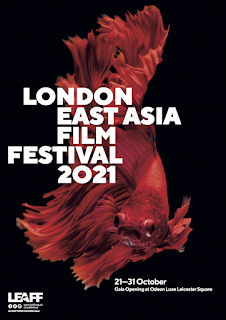 LEAFF21 poster featuring a Japanese fighting fish on black background