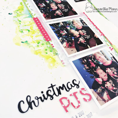 Christmas PJs Scrapbook Layout by Samantha Mann for Newton's Nook Designs, Watercolor, Patterned Paper, Christmas, Layout, Scrapbooking #newtonsnook #newtonsnookdesigns #scrapbooking #scrapbook #layout #watercolor