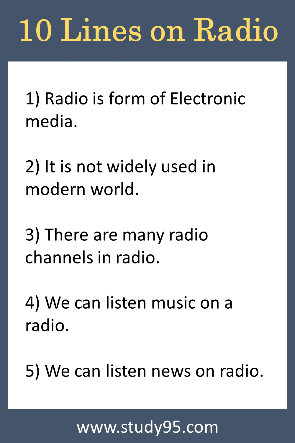 Lines on Radio in English