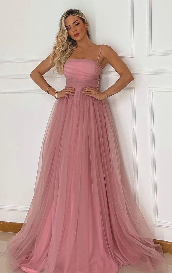 vestido longo rosa seco para madrinha de casamento