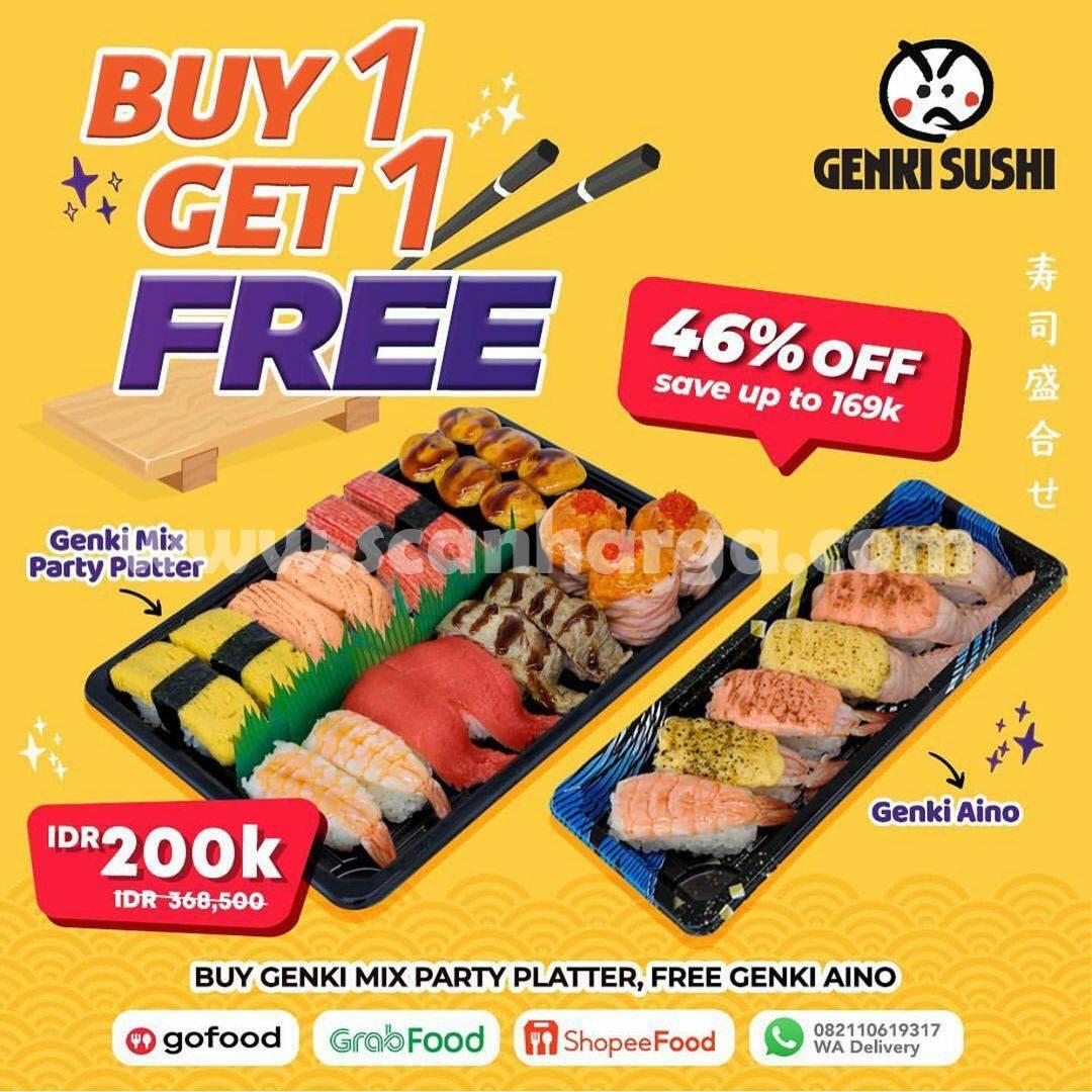 Promo GENKI SUSHI Promo Buy 1 Get 1 Free* Sushi Platter Disc. up to 46%