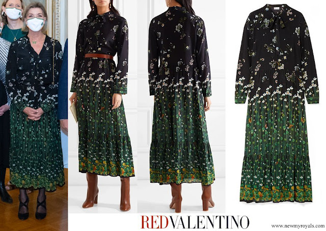 Princess Caroline wore Red Valentino Black Floral-Print Silk-Chiffon Maxi Dress