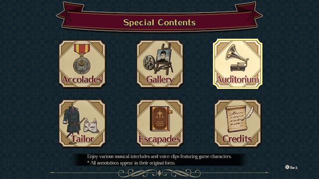 The Great Ace Attorney Chronicles Special Contents Auditorium description music voice clips