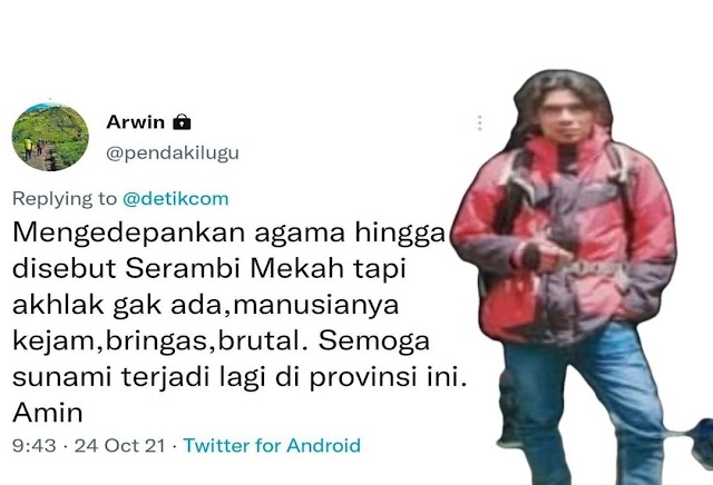 Doakan Aceh Kena Tsunami, Akun Twitter Ini di Serbu Warganet