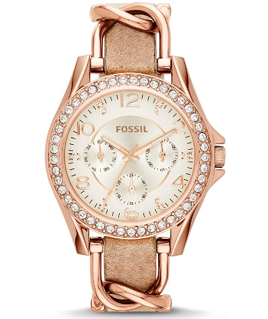 leather stainless steel women watch