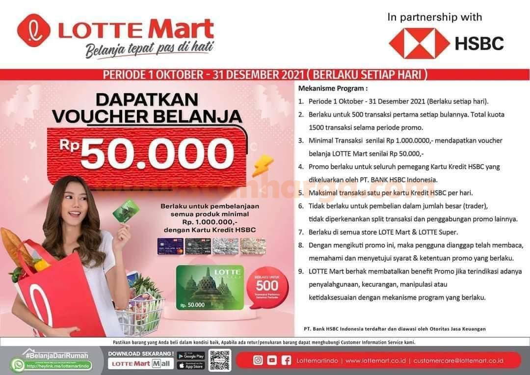 Promo LOTTEMART GRATIS Voucher belanja 50ribu dengan Kartu Kredit HSBC